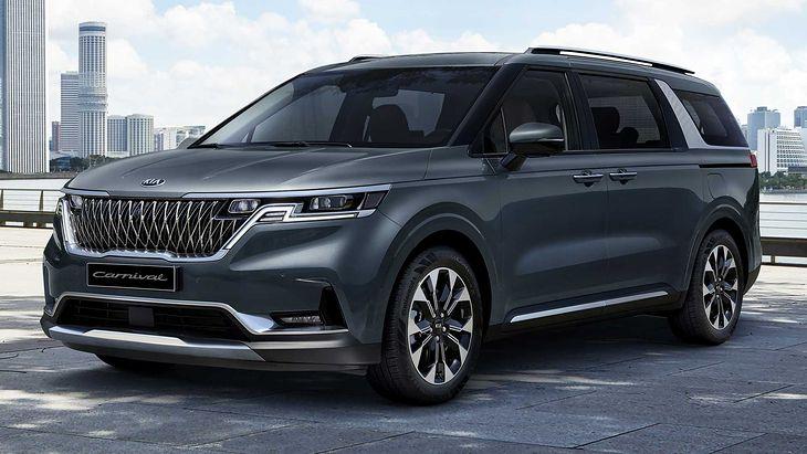The new Kia Carnival looks a bit like an SUV, although it is still a minivan